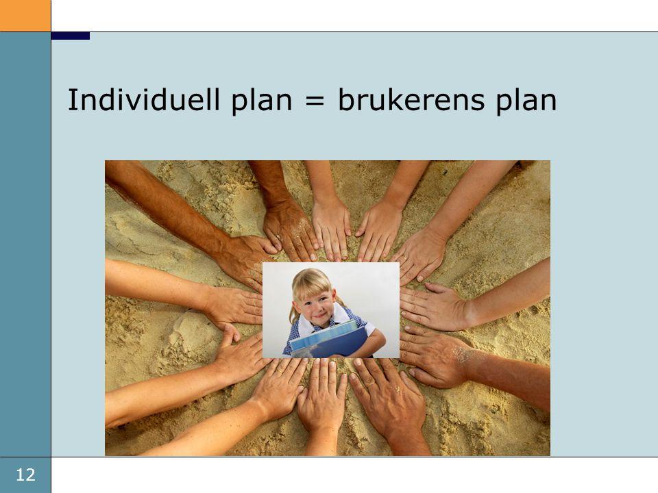 Individuell plan = brukerens plan