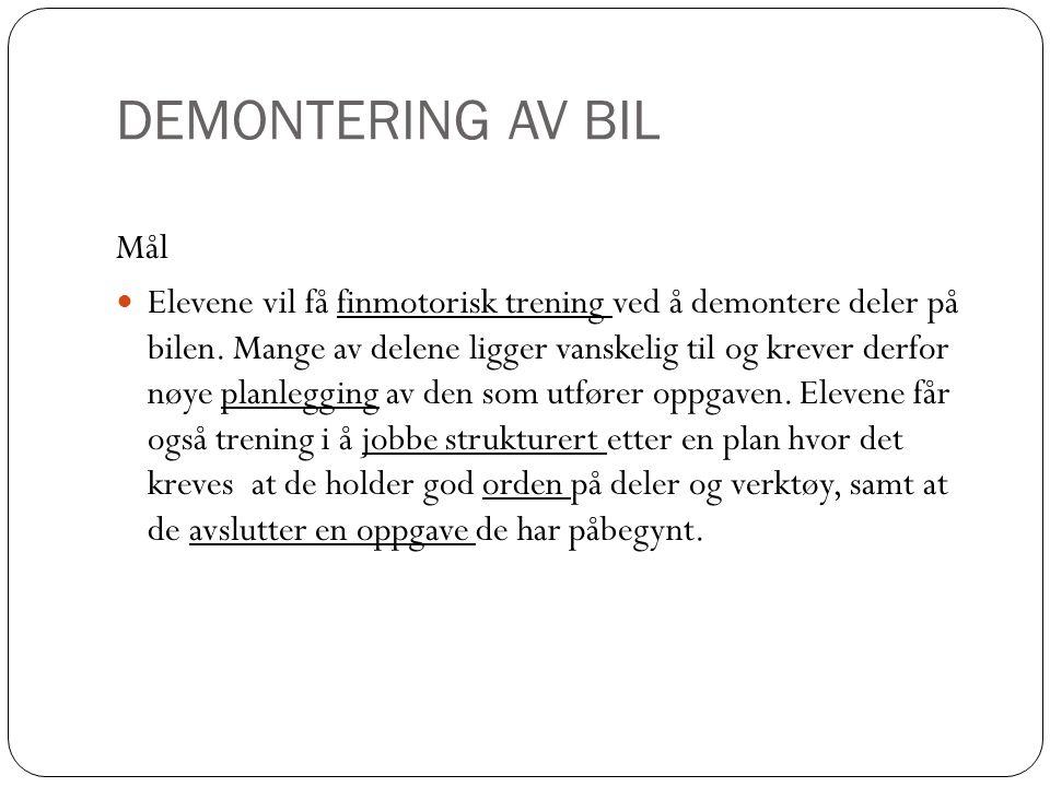 DEMONTERING AV BIL Mål.