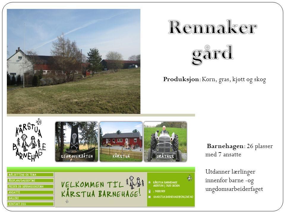 Rennaker gård Produksjon: Korn, gras, kjøtt og skog
