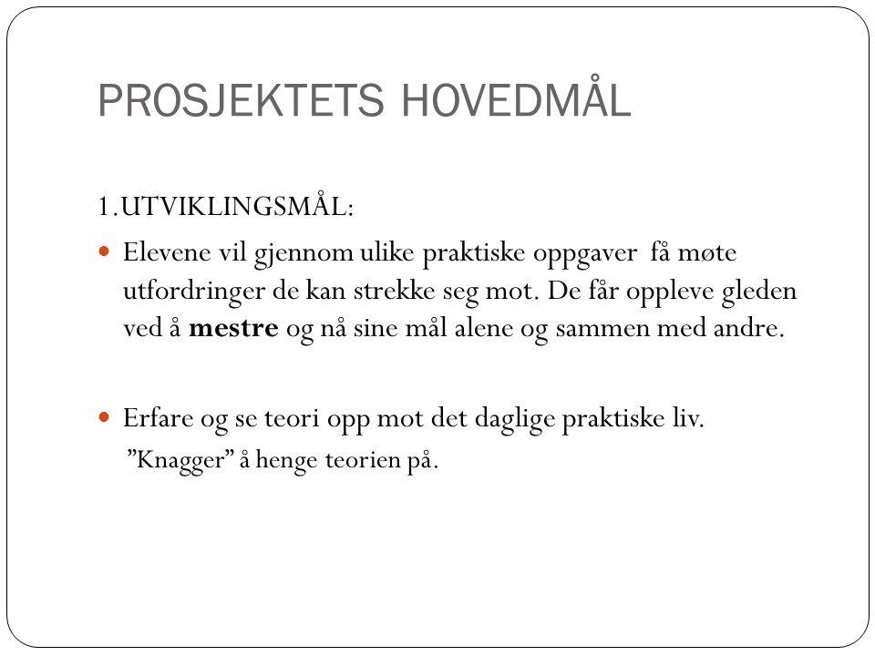 PROSJEKTETS HOVEDMÅL 1.UTVIKLINGSMÅL: