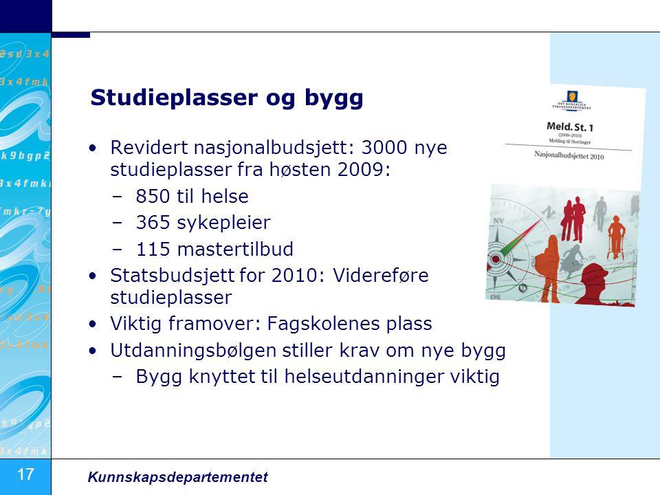 Studieplasser og bygg Revidert nasjonalbudsjett: 3000 nye studieplasser fra høsten 2009: 850 til helse.
