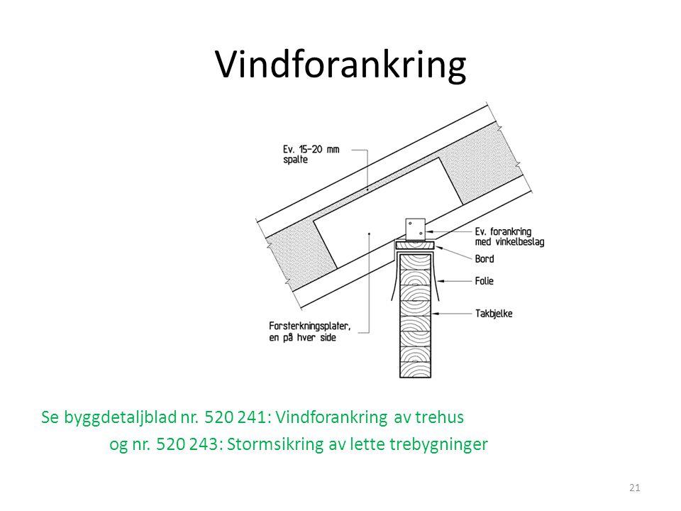 Vindforankring Se byggdetaljblad nr. 520 241: Vindforankring av trehus