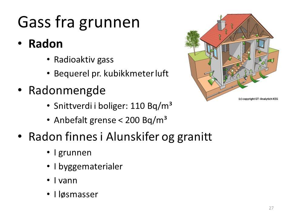 Gass fra grunnen Radon Radonmengde
