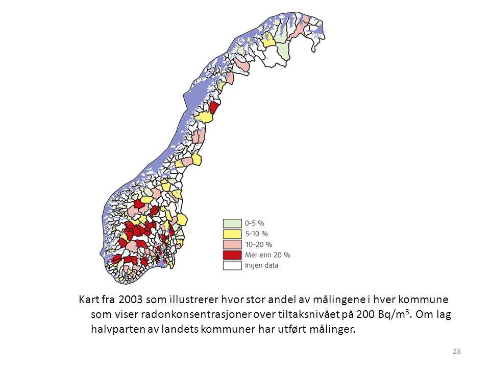 Kart fra 2003 som illustrerer hvor stor andel av målingene i hver kommune som viser radonkonsentrasjoner over tiltaksnivået på 200 Bq/m3.