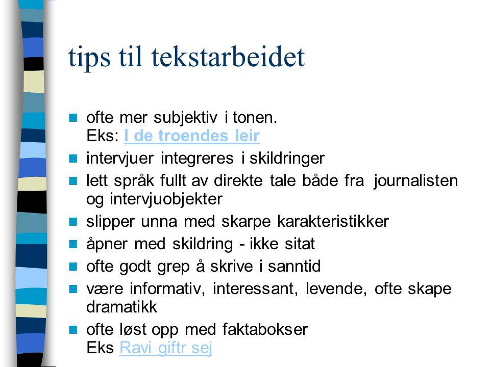 tips til tekstarbeidet