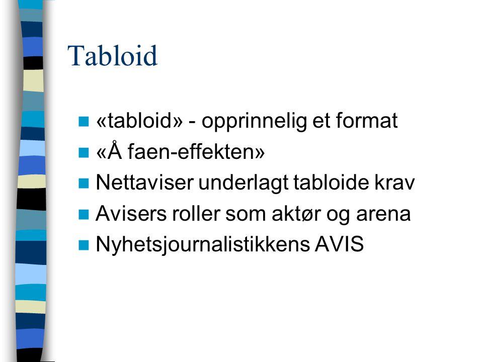 Tabloid «tabloid» - opprinnelig et format «Å faen-effekten»