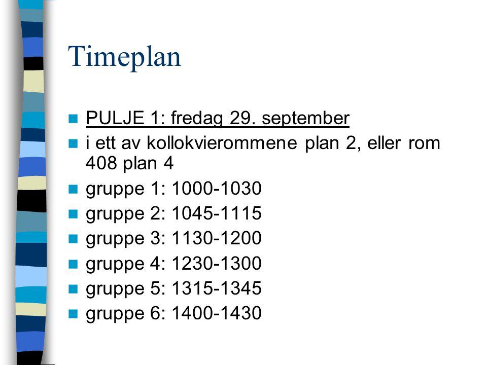 Timeplan PULJE 1: fredag 29. september