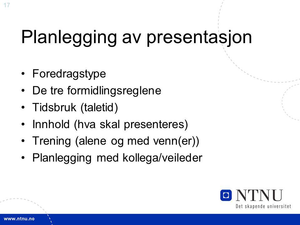 Planlegging av presentasjon