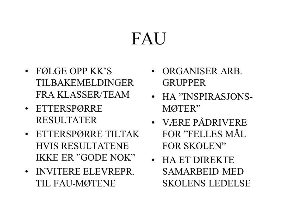 FAU FØLGE OPP KK'S TILBAKEMELDINGER FRA KLASSER/TEAM
