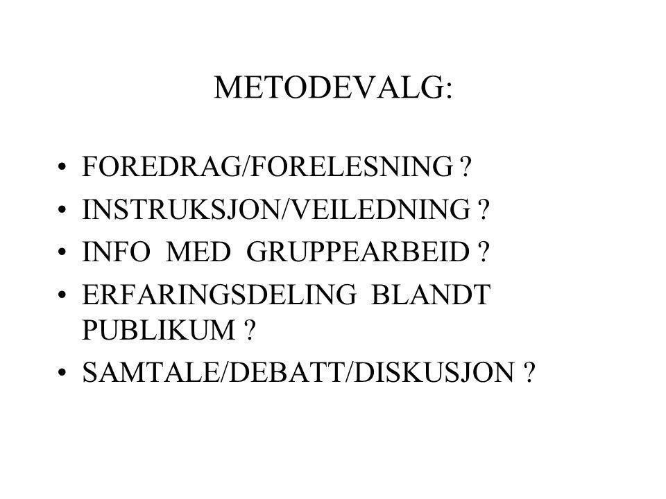 METODEVALG: FOREDRAG/FORELESNING INSTRUKSJON/VEILEDNING