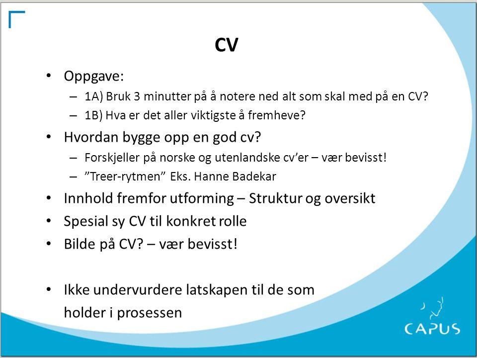 CV Oppgave: Hvordan bygge opp en god cv