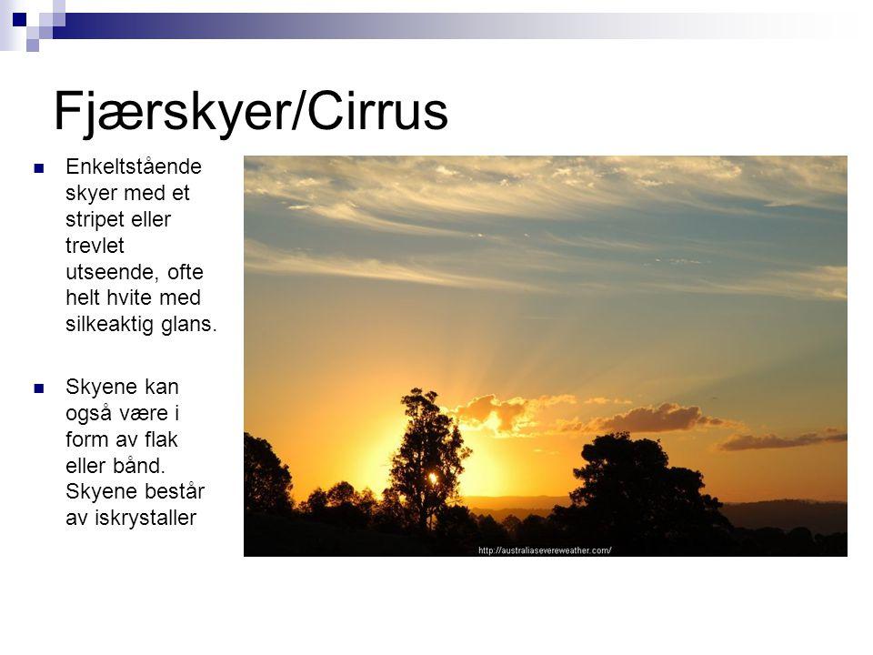 Fjærskyer/Cirrus Enkeltstående skyer med et stripet eller trevlet utseende, ofte helt hvite med silkeaktig glans.