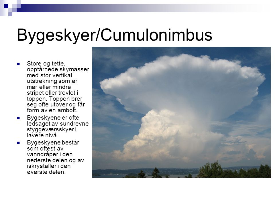 Bygeskyer/Cumulonimbus