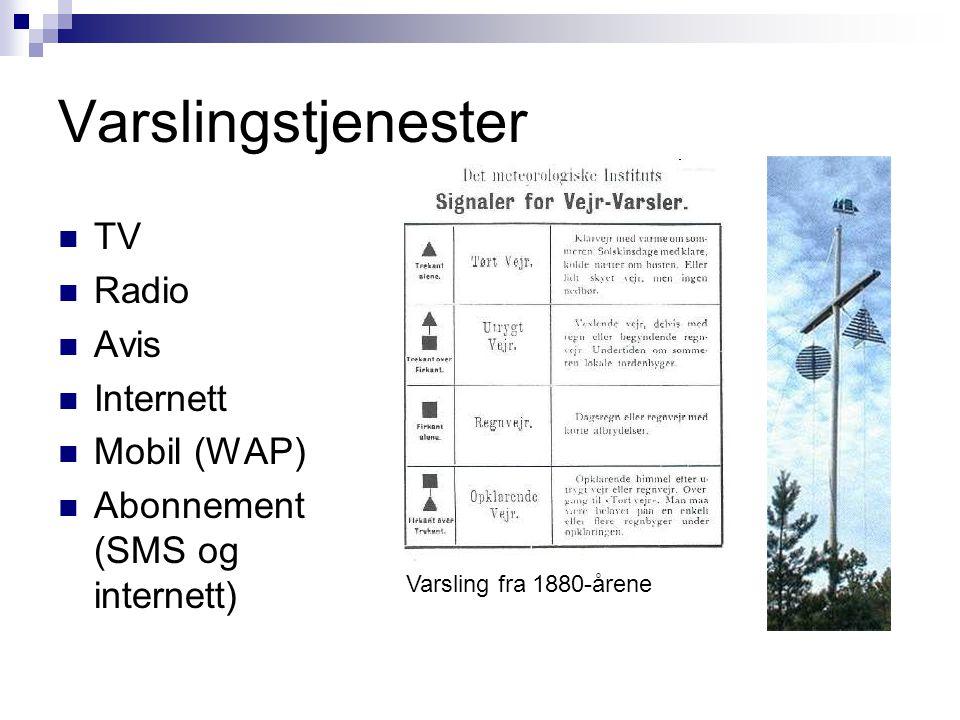 Varslingstjenester TV Radio Avis Internett Mobil (WAP)