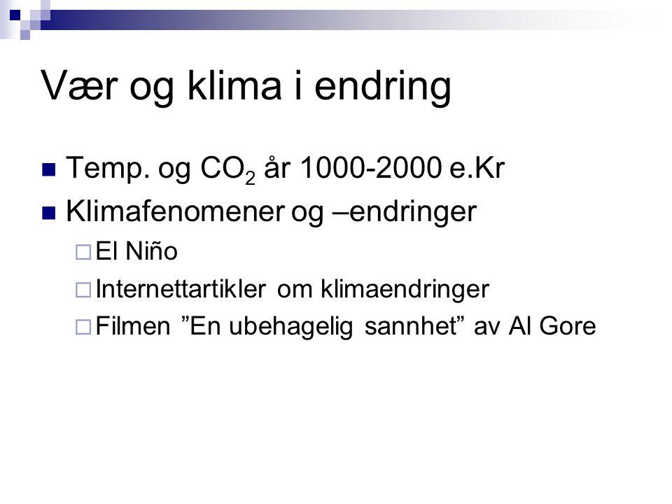 Vær og klima i endring Temp. og CO2 år 1000-2000 e.Kr