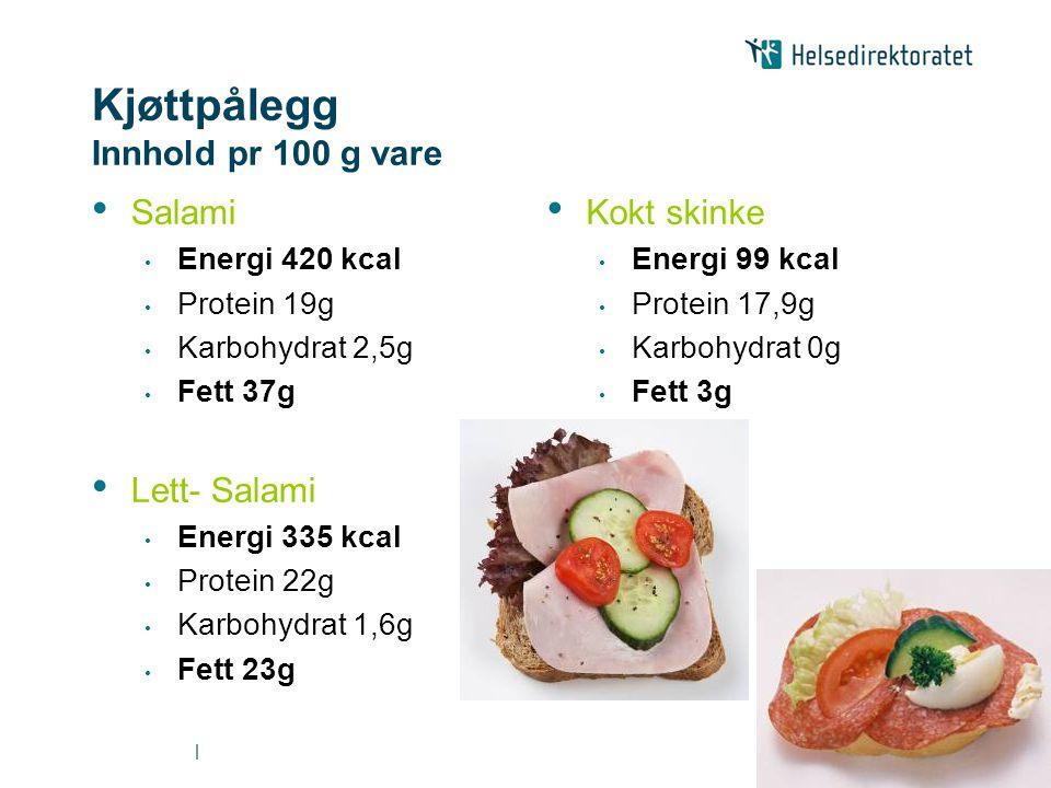 Kjøttpålegg Innhold pr 100 g vare