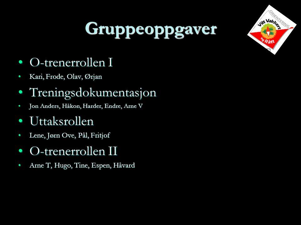 Gruppeoppgaver O-trenerrollen I Treningsdokumentasjon Uttaksrollen