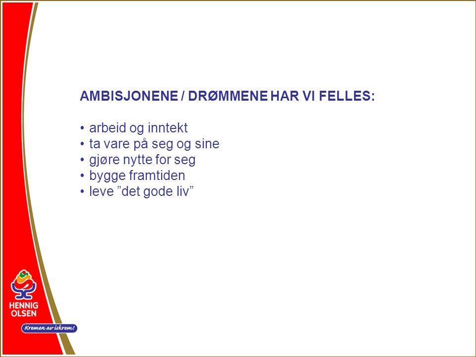 AMBISJONENE / DRØMMENE HAR VI FELLES: