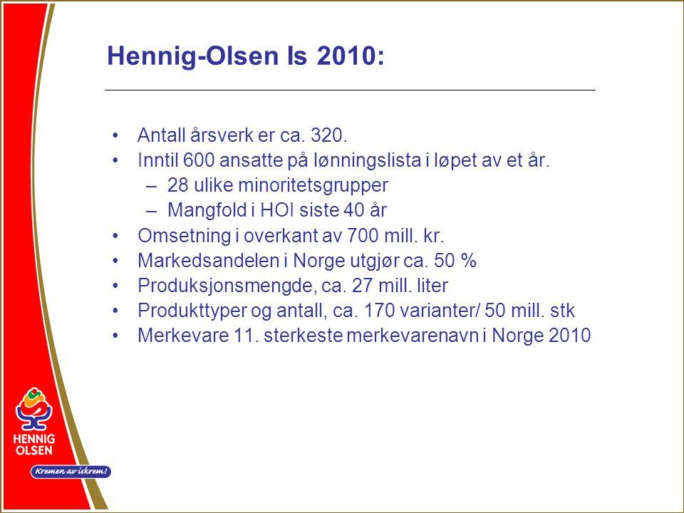 Hennig-Olsen Is 2010: Antall årsverk er ca. 320.