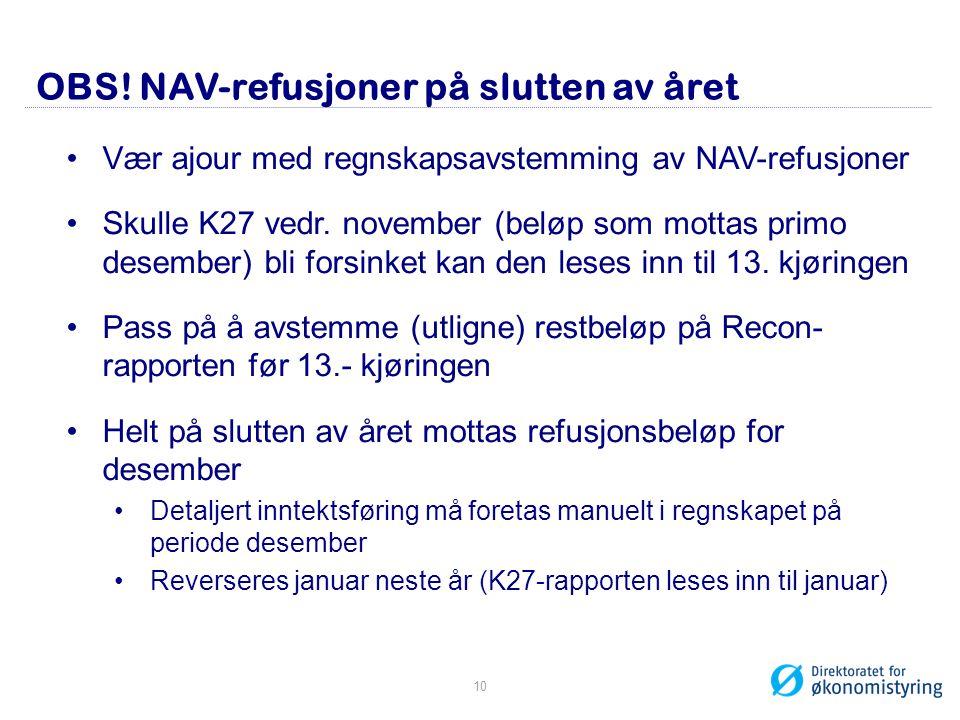 OBS! NAV-refusjoner på slutten av året