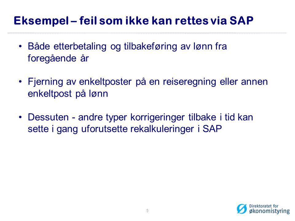 Eksempel – feil som ikke kan rettes via SAP