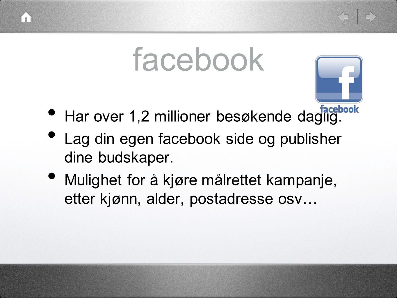 facebook Har over 1,2 millioner besøkende daglig.