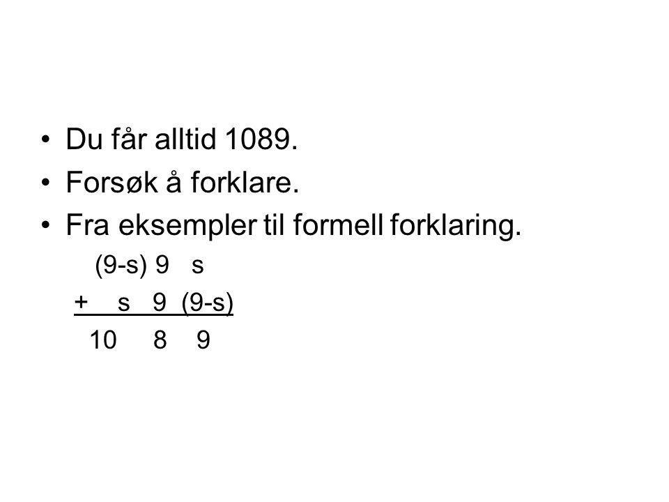 Fra eksempler til formell forklaring.