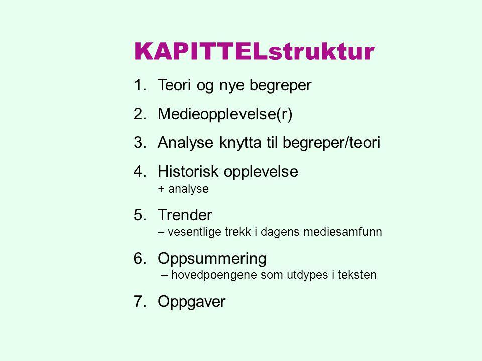 KAPITTELstruktur Teori og nye begreper Medieopplevelse(r)