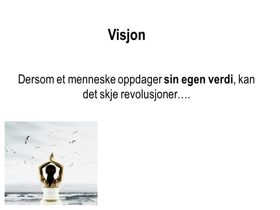 Visjon Dersom et menneske oppdager sin egen verdi, kan det skje revolusjoner….
