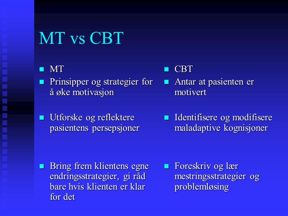 MT vs CBT MT Prinsipper og strategier for å øke motivasjon