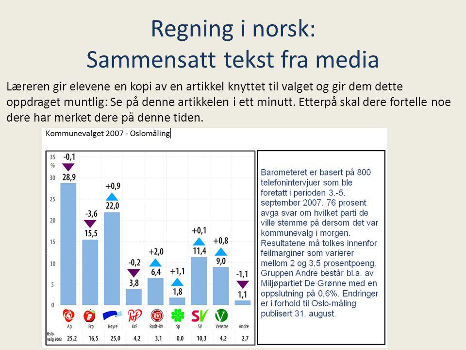 Regning i norsk: Sammensatt tekst fra media