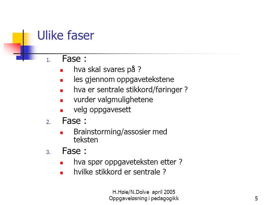 H.Høie/N.Dolve april 2005 Oppgaveløsning i pedagogikk