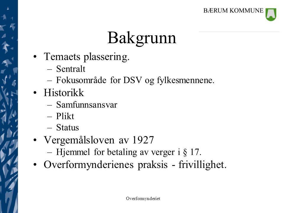 Bakgrunn Temaets plassering. Historikk Vergemålsloven av 1927