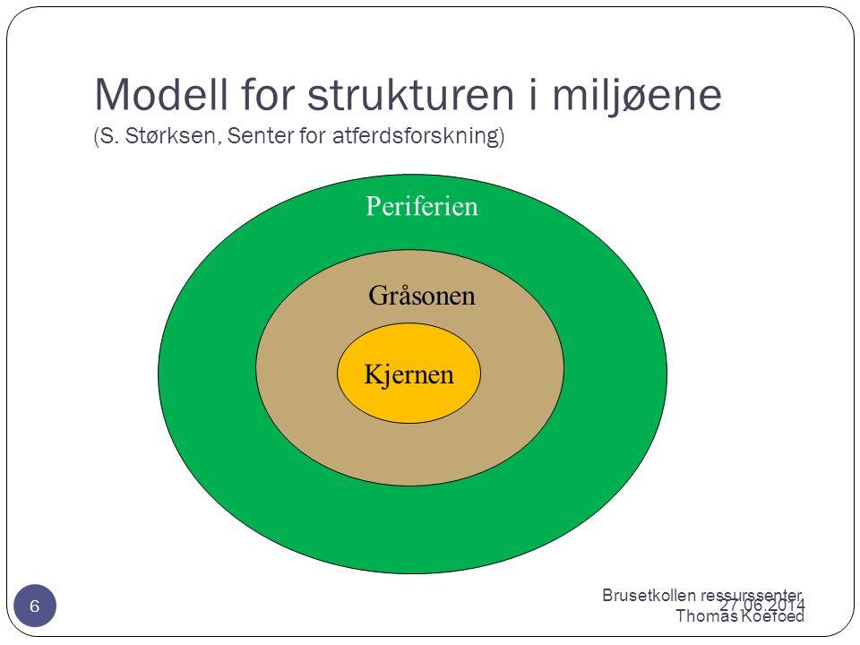 Modell for strukturen i miljøene. (S