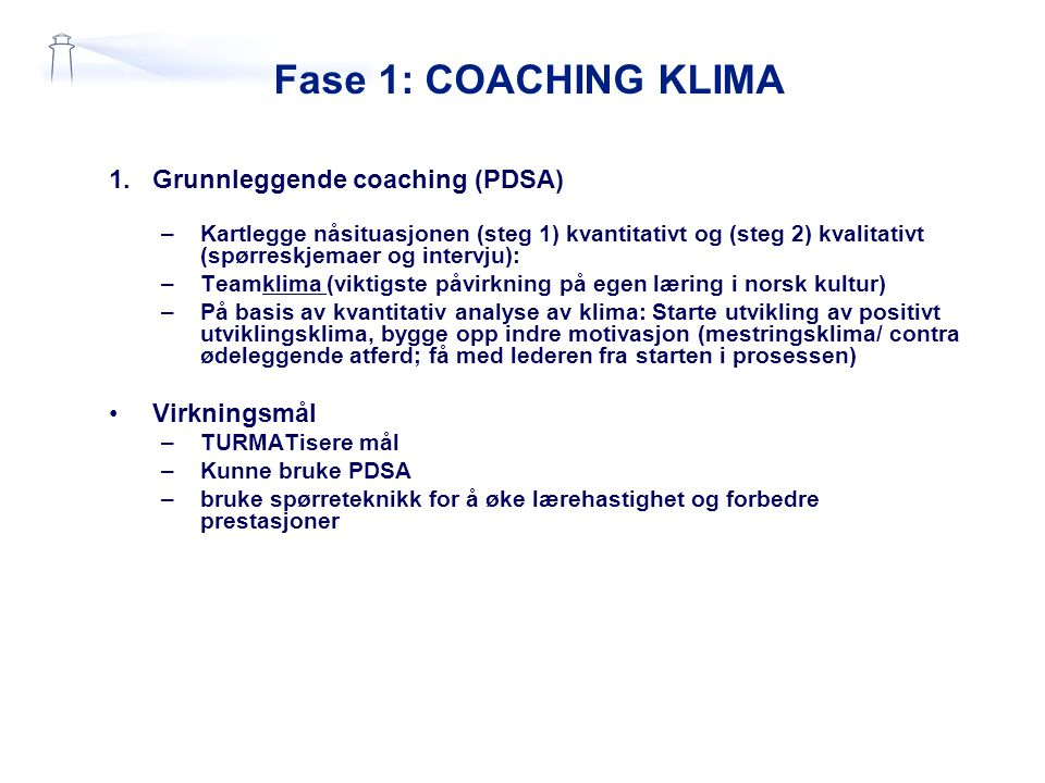 Fase 1: COACHING KLIMA Grunnleggende coaching (PDSA) Virkningsmål