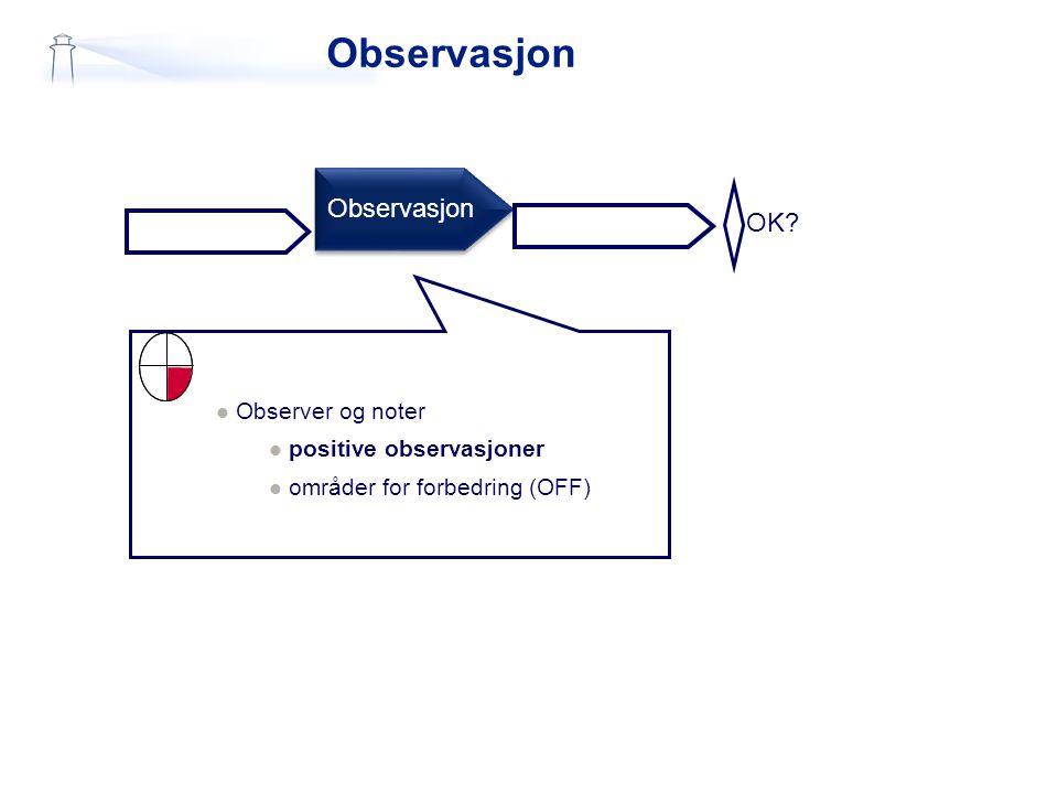 Observasjon Observasjon OK Observer og noter positive observasjoner