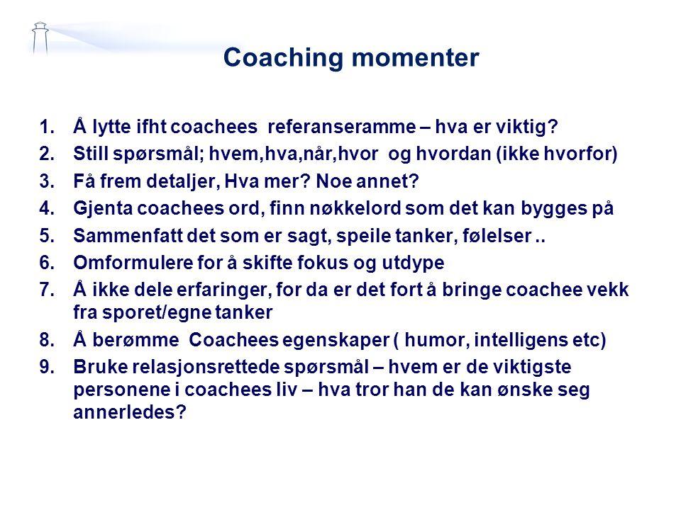 Coaching momenter Å lytte ifht coachees referanseramme – hva er viktig Still spørsmål; hvem,hva,når,hvor og hvordan (ikke hvorfor)