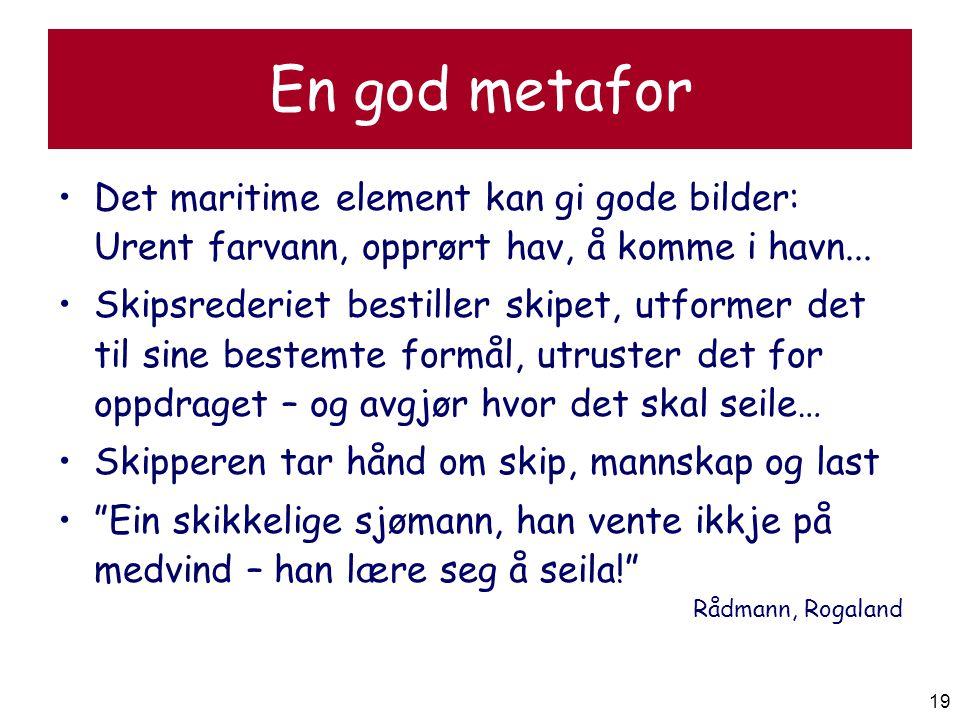 En god metafor Det maritime element kan gi gode bilder: Urent farvann, opprørt hav, å komme i havn...