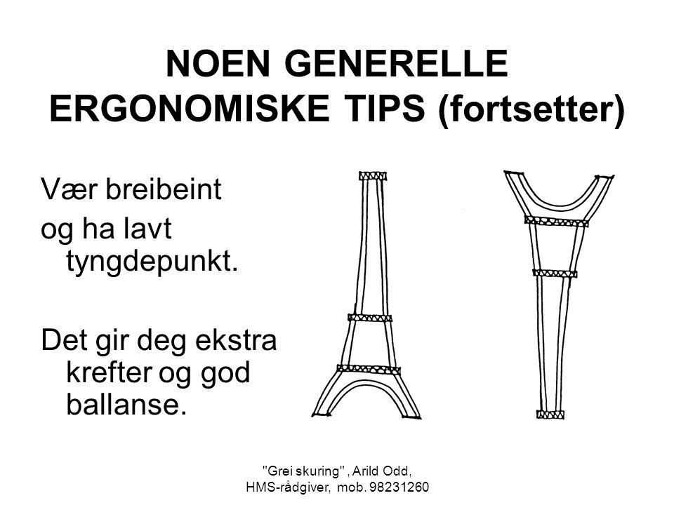 NOEN GENERELLE ERGONOMISKE TIPS (fortsetter)