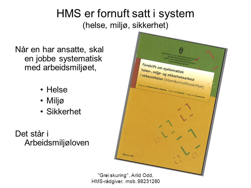 HMS er fornuft satt i system (helse, miljø, sikkerhet)