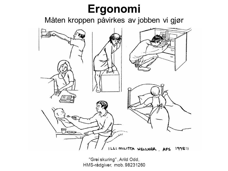 Ergonomi Måten kroppen påvirkes av jobben vi gjør