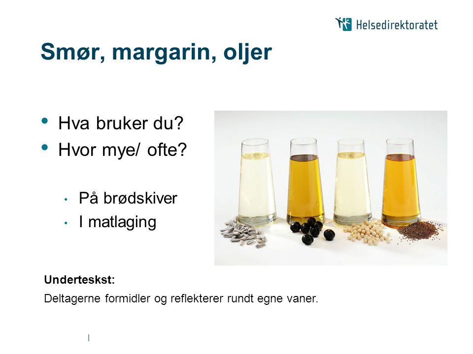 Smør, margarin, oljer Hva bruker du Hvor mye/ ofte På brødskiver