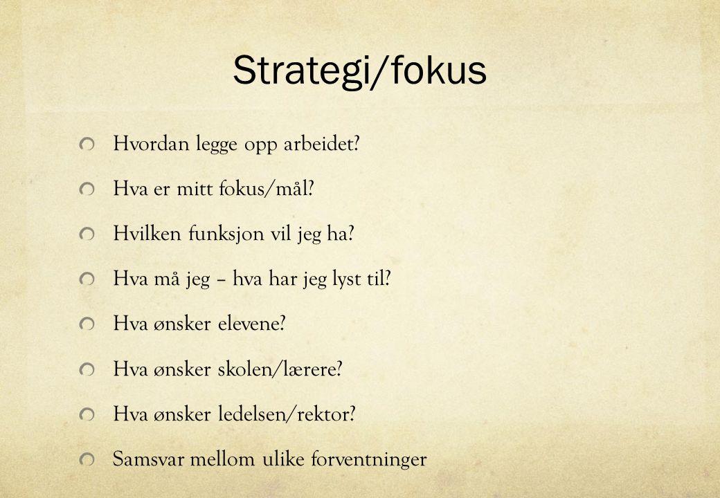 Strategi/fokus Hvordan legge opp arbeidet Hva er mitt fokus/mål