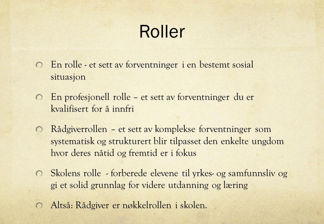 Roller En rolle - et sett av forventninger i en bestemt sosial situasjon.
