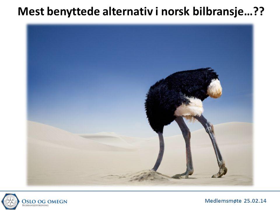 Mest benyttede alternativ i norsk bilbransje…