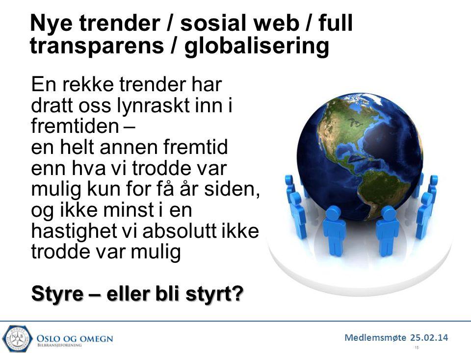 Nye trender / sosial web / full transparens / globalisering