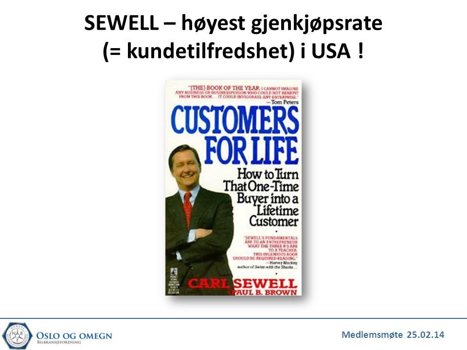 SEWELL – høyest gjenkjøpsrate (= kundetilfredshet) i USA !