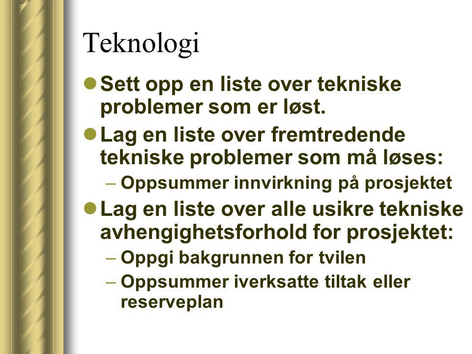 Teknologi Sett opp en liste over tekniske problemer som er løst.