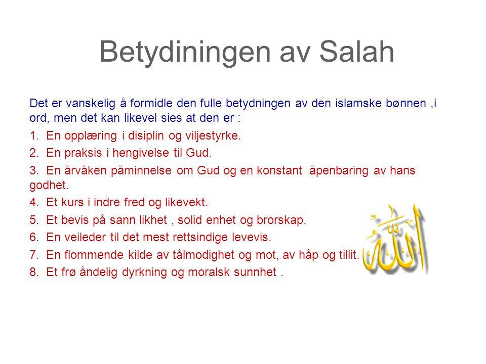 Betydiningen av Salah Det er vanskelig å formidle den fulle betydningen av den islamske bønnen ,i ord, men det kan likevel sies at den er :
