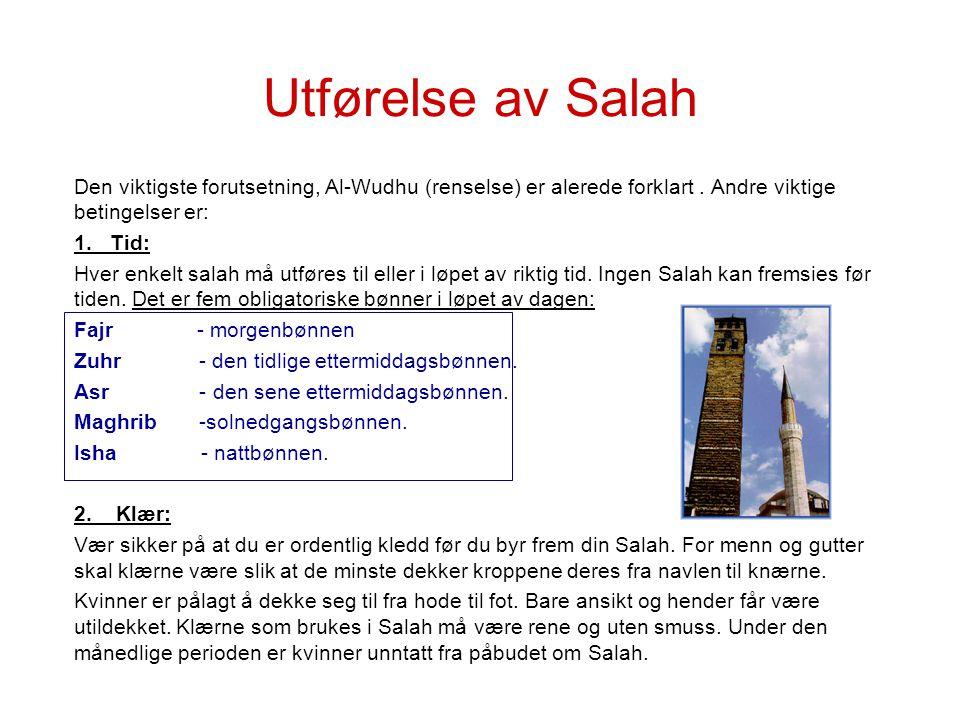Utførelse av Salah Den viktigste forutsetning, Al-Wudhu (renselse) er alerede forklart . Andre viktige betingelser er: